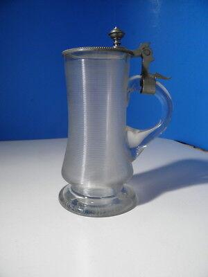 Schönes antikes Glas - 19. Jhd. - Bierglas / Bierkrug - 0,3L - mit Zinndeckel
