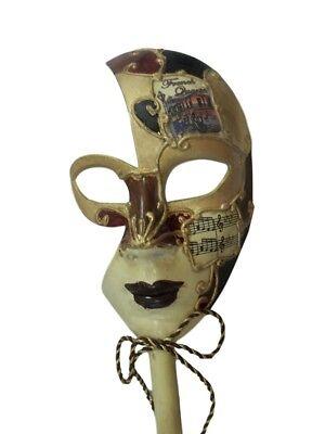 New Orleans French Quarter Venetian Stick Prom Mask Burgundy Ladies (New Orleans Halloween French Quarter)