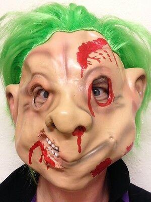 80er Troll Maske Latex Halloween Grün Haare Trolle Puppe Zwerg Kostüm Zubehör