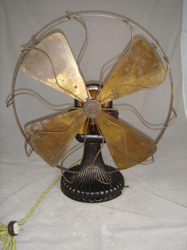 """Circa 1897  16"""" Peerless Bipolar Fan  Runs Great. Rare Fan."""