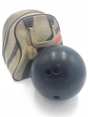 Vintage BRUNSWICK biege BOWLING BAG carrier w/metal rack & black beauty ball