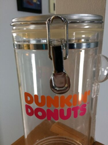 Dunkin Donuts vintage plastic cofee Jar Munchkins Canister container RARE