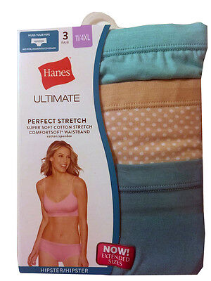 """Hanes Ultimate Women's Hipster 3-Pack  """"Cotton Comfort"""