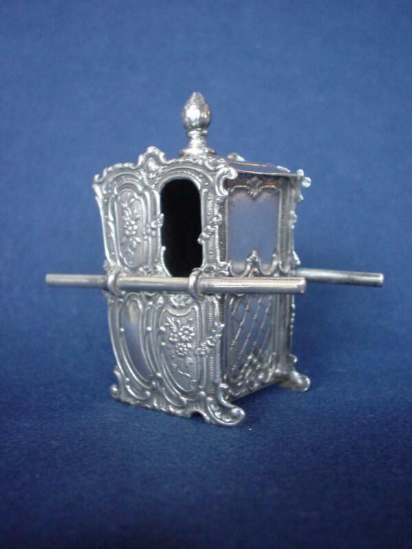 *Miniature Ornate SILVER  Sedan Chair Hallmark  Scotland Antique