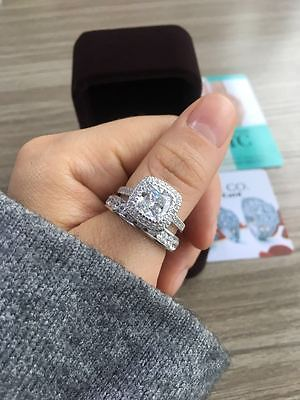 Cushion 4.47ct 14k White Gold Solitaire Channel Band Wedding Engagement Ring Set