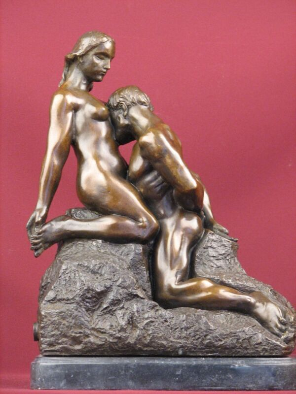 """SIGNED CLASSIC BRONZE SCULPTURE NUDE FRENCH RODIN """"ETERNAL IDOL""""  STATUE"""