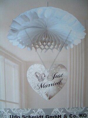 Hochzeit Just Married Dekoration Deko Wabenball mit Herz Girlande Banner -*