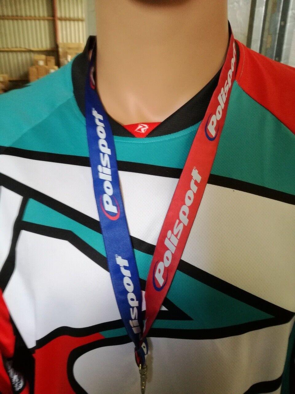 Polisport Logo Lanyard Motocross Enduro Red White Blue Strap Clip