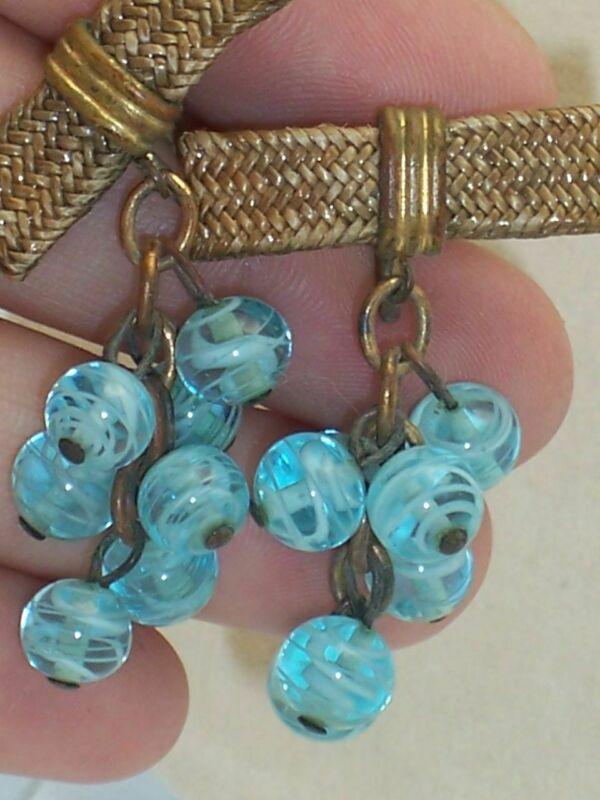 Vintage Art Glass Bead Grape Cluster Screw Back Earrings W/ Bow