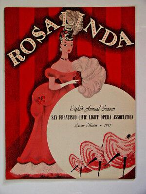 "1947 San Francisco Curran Theatre Civic Light Opera Asn ""ROSALINDA"" 20pg Program"