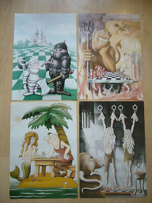 4 x Vintage Chess Posters by Smyth c.1970's Cartoons Good Con