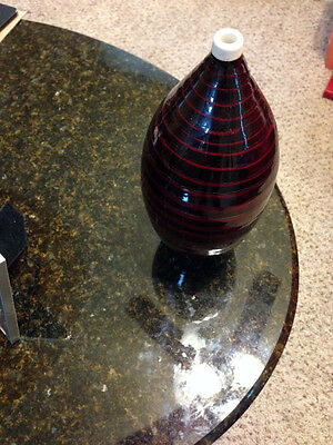 "Bamboo Vase Rich Red Spun Bamboo Lacquer Finish 12"" Tall"