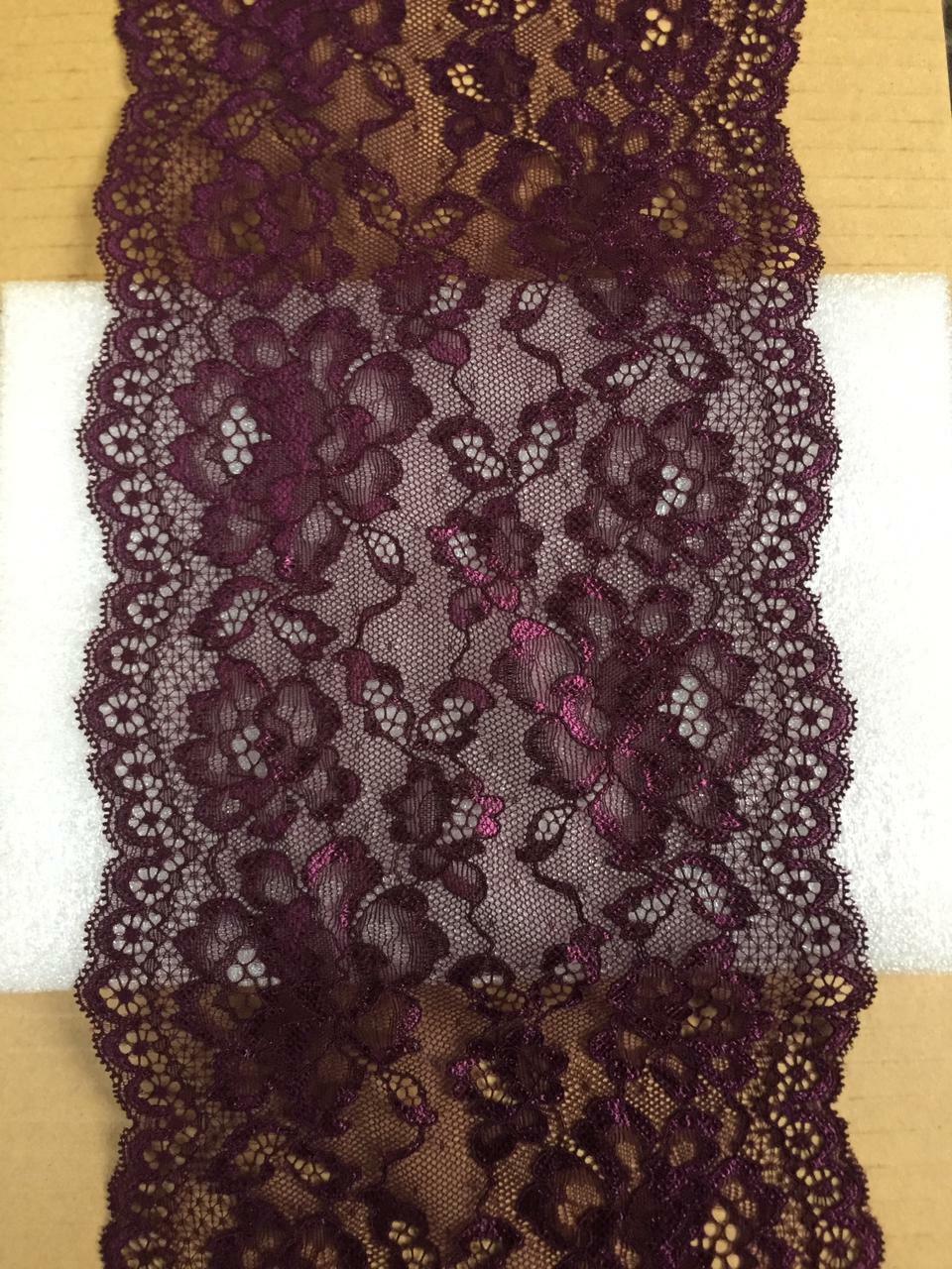 10m/1m elegante Stickerei Spitze Borte elastisch Dunkel violett 18cm NR