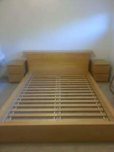 ikea queen low malm bed frame 2 nightstands and dresser for sale