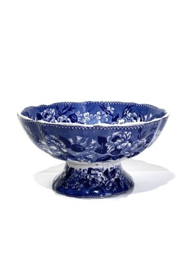 Adams Ironstone Flow Blue Transfer Ware Pedestal Bowl Cattle Scenery 19th C