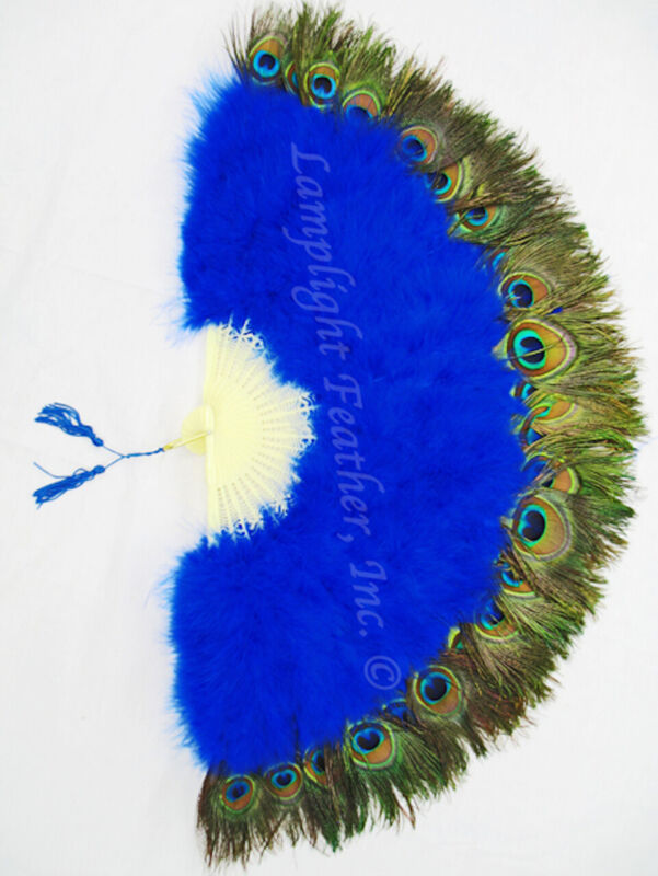 """NEW ROYAL BLUE MARABOU PEACOCK 29"""" OPEN FEATHER FAN WEDDING COSPLAY COSTUME"""