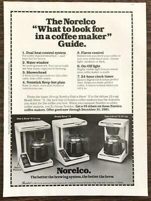 1981 Norelco Coffee Makers Print Ad Dial-A-Brew Ready-Brew Better