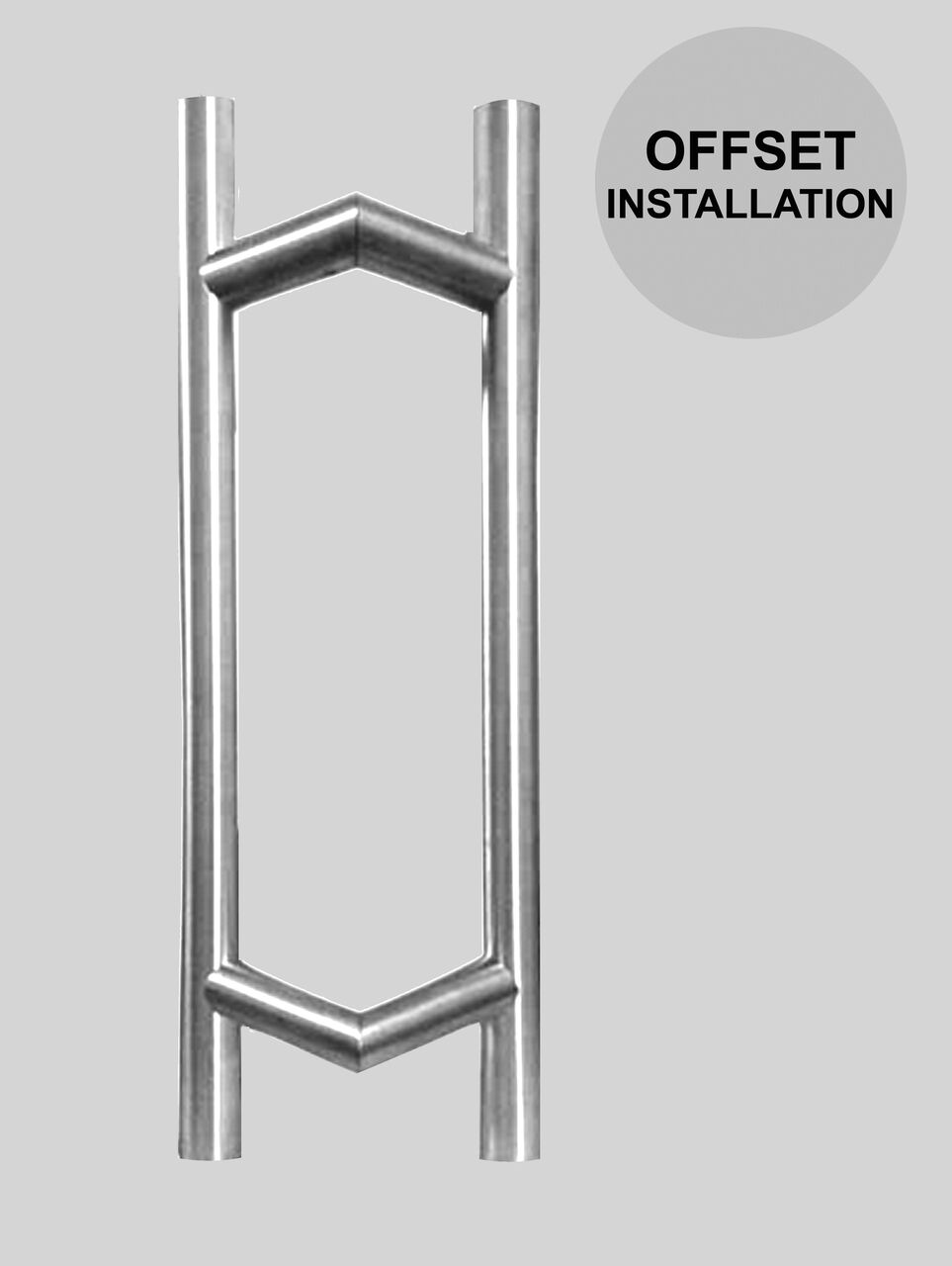 Modern 45 wood glass mounted offset ladder pull back to for Door pull handles