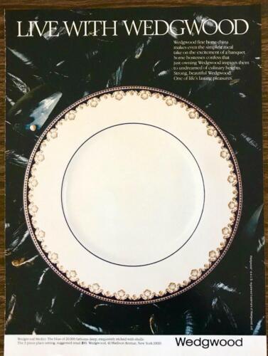 1983 Wedgwood Fine Bone China PRINT AD Medici Pattern Blue With Shells