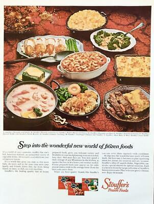 1967 Stouffer's Frozen Foods Print Ad Festive Table Entrees Plated Meals Garnish