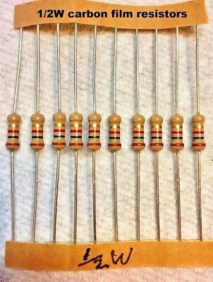 10 Pcs - Carbon Film 12 Watt 5 Resistors Many Values - You Choose