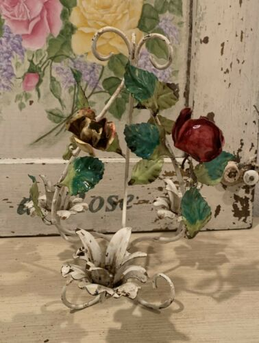 VINTAGE ITALIAN TOLE WHITE CANDELABRA CANDLE HOLDER with ROSEBUDS & LEAVES