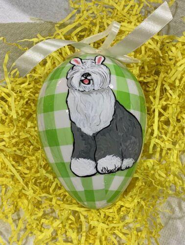 2 hand painted Old English sheepdog buffalo check lime green Easter Eggs