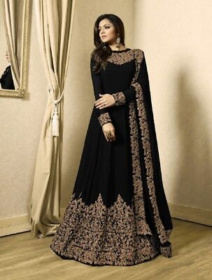 Indian Best Designer Black Silk Shalwar Suit Party Wear  Anarkali Salwar