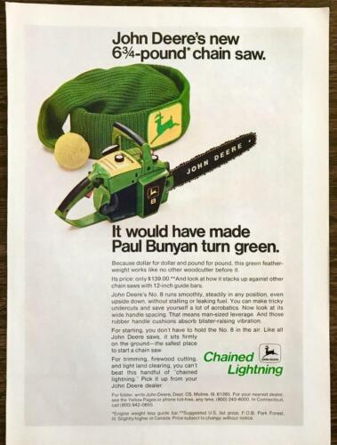 1971 John Deere Number 8 Chainsaw PRINT AD Would
