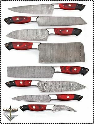 GladiatorsGuild Tradition Damascus Steel 8 pcs Red Chef Kitchen Knife set Cleaver