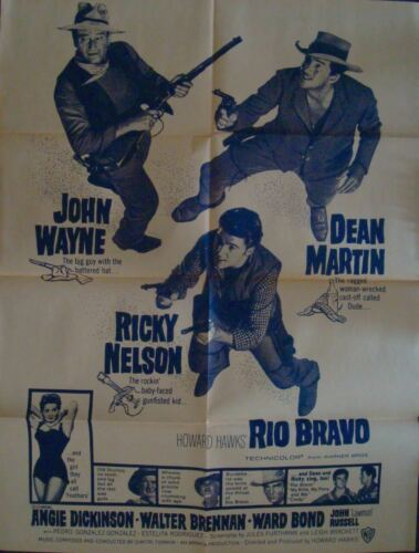 RIO BRAVO one sheet movie poster 27x41 R65 JOHN WAYNE DEAN MARTIN RICKY NELSON