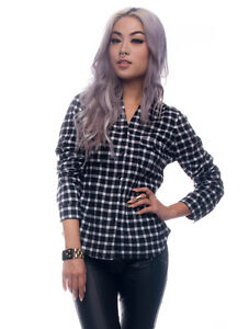 NEW-WOMEN-BLACK-AND-WHITE-CHECKERED-FLANNEL-PLAID-SHIRT