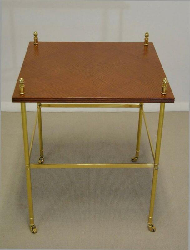 MID CENTURY BRASS WOOD TWO TIER STAND