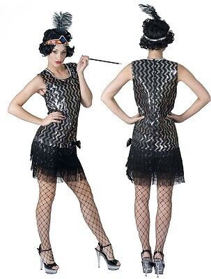 Charleston Kleid schwarz/silber Fransen 20er 30er Jahre Glitzereffekt Fasching ()