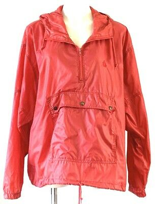 Izod Lacoste Jacket Sz XL Red Hooded Windbreaker 1/4  Zip Pullover Rain Nylon