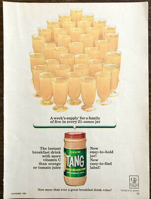 1963 Tang Instant Breakfast Drink PRINT AD Weel's Supply for a Family of Five