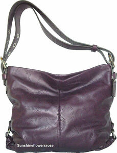 COACH-398-PERFORATED-LEATHER-DUFFLE-SHOULDER-BAG-HANDBAG-PLUM-F19407-NEW