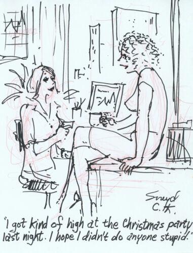 Doug Sneyd Signed Original Art Sketch Playboy Gag Rough ~ Christmas Party
