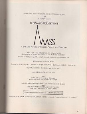"Leonard Bernstein  ""Mass""  Program 1972  Metropolitan Opera House  Alan Titus"