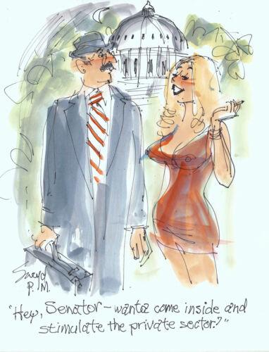 Doug Sneyd Signed Original Art Playboy Gag Rough Sketch Politics Senator & Blond