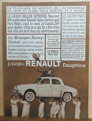 1959 magazine ad for Renault autos - Dauphine, Make Driving Fun Again