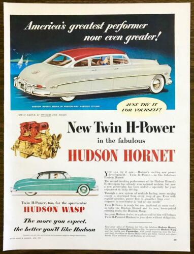 1952 Hudson Hornet  Hudson Wasp PRINT AD Just Try It For Yourself!