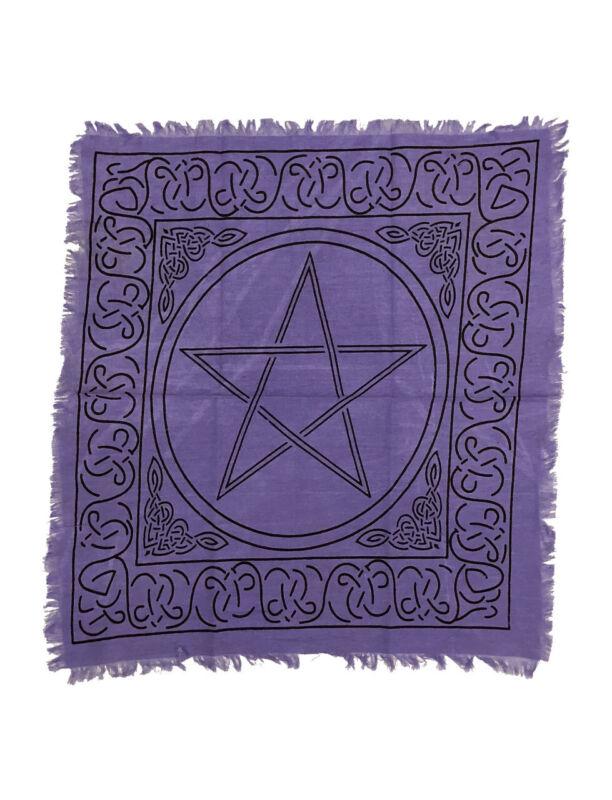 Purple Pentagram Pentacle 18 X 18 Cotton Altar Tarot Cloth Wicca Pagan Free Ship