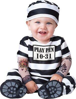 Baby Jungen Mädchen Sträfling Gefangener Halloween Kostüm Kleid Outfit 0-24 ()