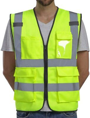 Yellow Class 2 High Visibility Zipper Front With Pockets Safety Vest Us Seller