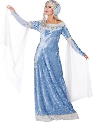 Damen Lang Blau Mittelalterlich Lady Marian Renaissance Kostüm Kleid Outfit (Renaissance Lady Kostüme)