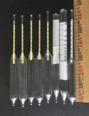 Lot 8 Specific Gravity Baume Short Glass Hydrometers