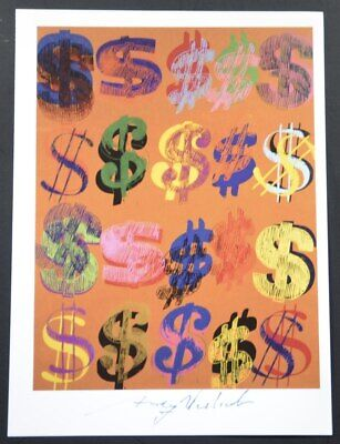 "Andy Warhol Dollar Sign (Andy Warhol, Special Print ""Dollar Signs"" (orange background). Hand Signed, COA. )"