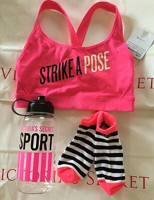 NWT Victorias Secret SPORT VSX Water Bottle Small Sports Bra & OS Socks D393