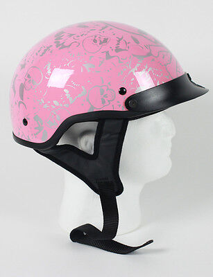 Pink Skull Ladies Motorbike Bike Biker Half DOT Motorcycle Helmet S M L XL NEW +